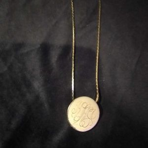 "Ross Simmons Jewelry - Gold 3×3inch ""KHJ""Monogram pendant 21inch chain"